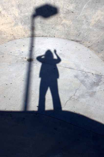 My shadow at a neighborhood skateboard park